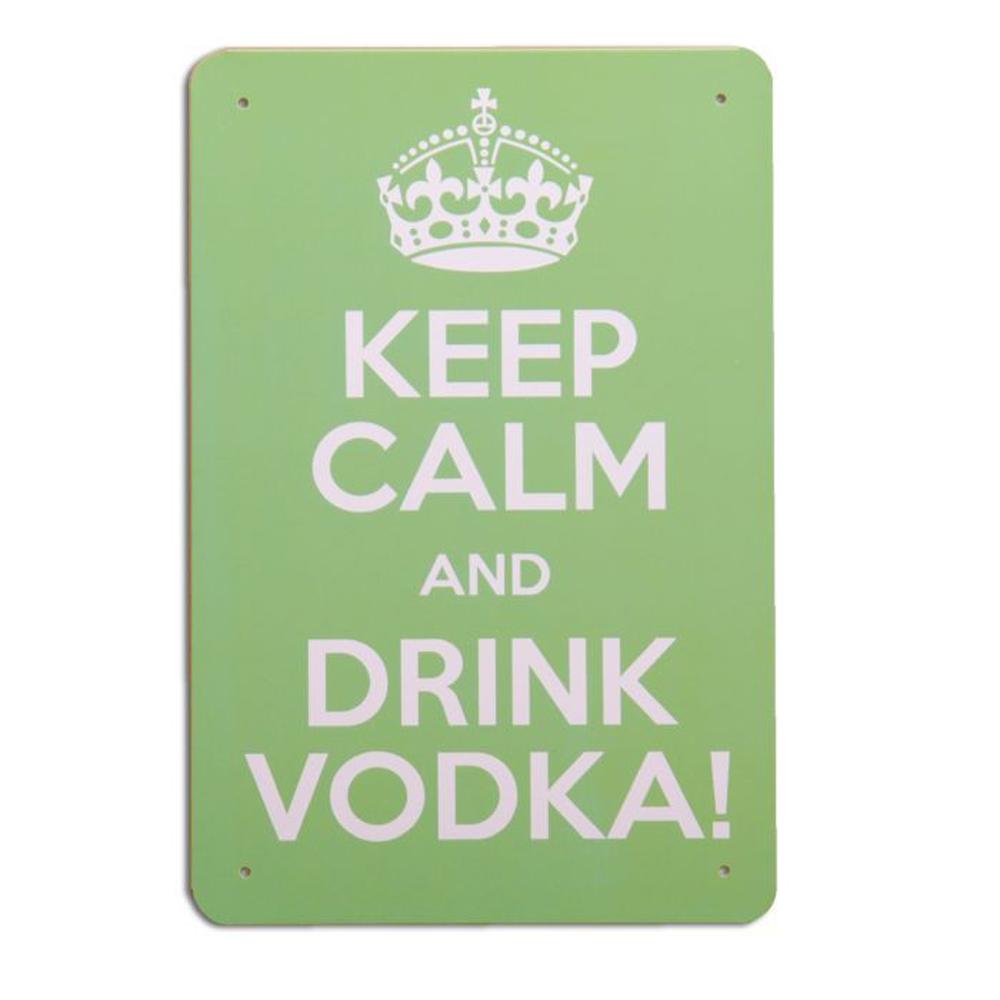Metallschild DRINK VODKA Vintage Schild im Retro-Design