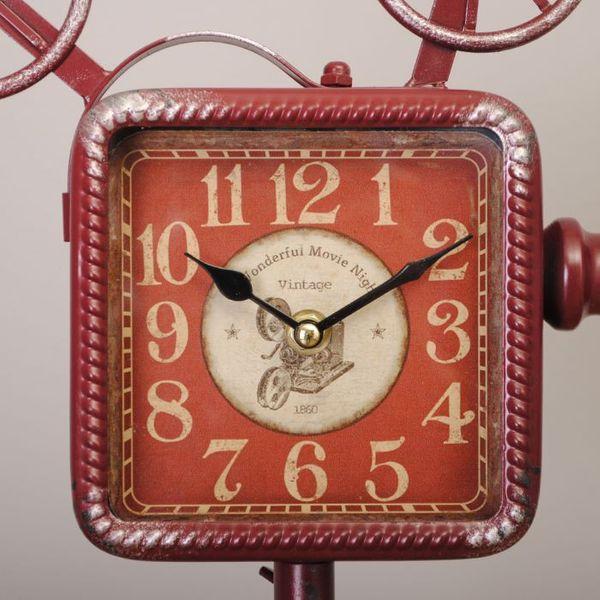 Vintage Tischuhr CAMERA aus Metall im Retro-Design rot – Bild 3