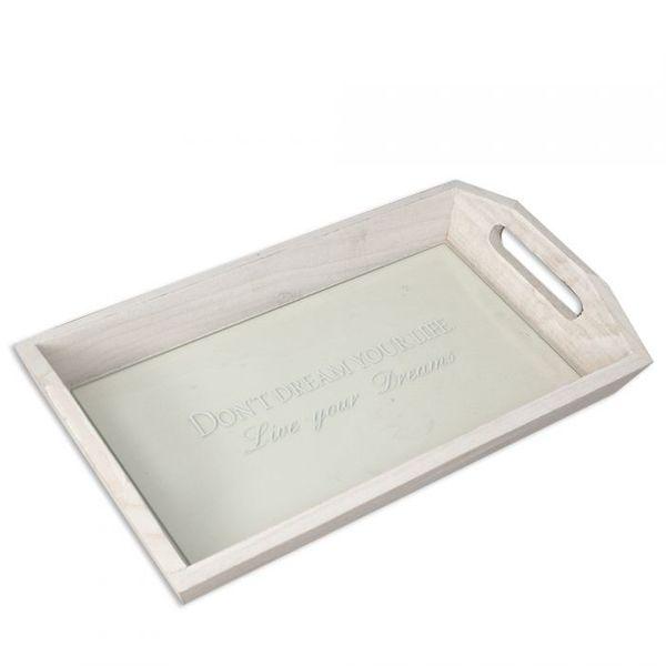 Design Tablett LIVE YOUR DREAMS mit Glasablage 36cm