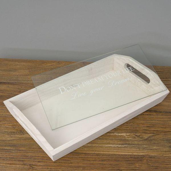 Design Tablett LIVE YOUR DREAMS mit Glasablage 36cm – Bild 3