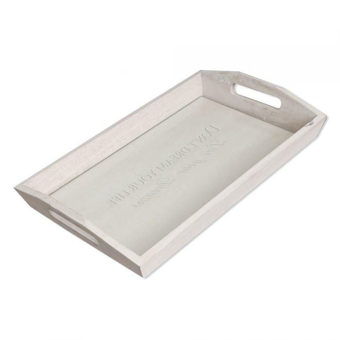 Design Tablett LIVE YOUR DREAMS mit Glasablage 41cm