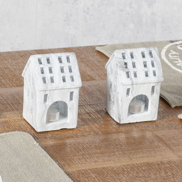 2'er Set Teelicht-Haus Teelichthalter KACEY Marmor – Bild 3