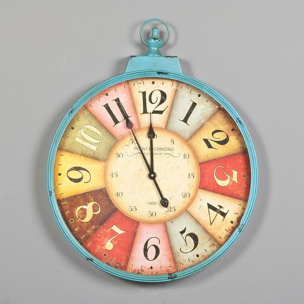 Bunte Metall-Wanduhr POINT RICHMOND PETROL im Vintage Design 60cm – Bild 1