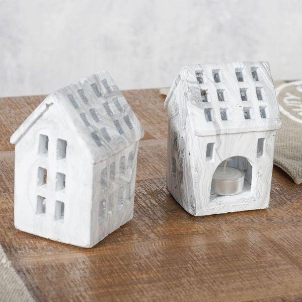 Teelicht-Haus Teelichthalter KACEY Marmor – Bild 1