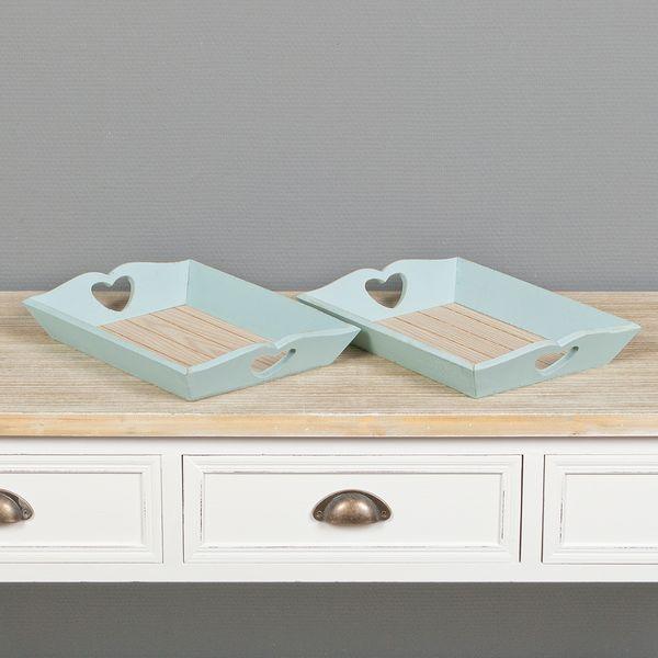 2tlg. Dekotablett-Set WINNIE hellblau aus Holz im Shabby Chic-Stil 32x23cm – Bild 1