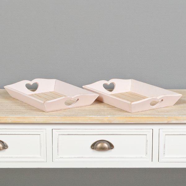 2tlg. Dekotablett-Set WINNIE rosa aus Holz im Shabby Chic-Stil 32x23cm – Bild 1