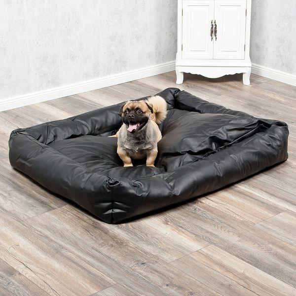 Hundebett CHILL 125x100cm Schwarz Kunstleder – Bild 1