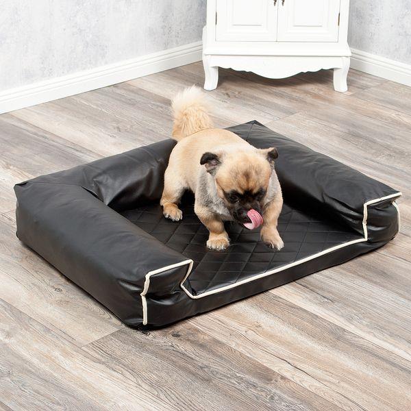 Hundebett LOUNGE 80x60cm Schwarz Kunstleder – Bild 4