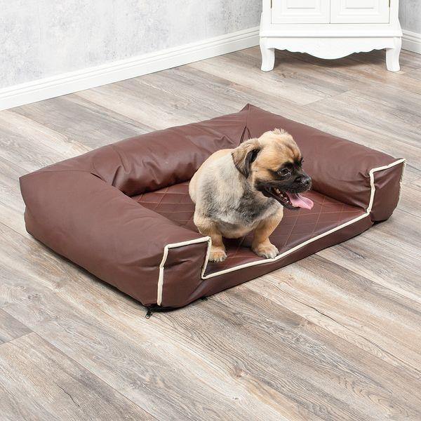 Hundebett LOUNGE 80x60cm Braun Kunstleder – Bild 6