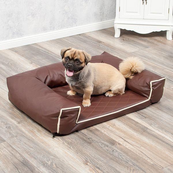 Hundebett LOUNGE 80x60cm Braun Kunstleder – Bild 1