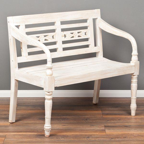 Sitzbank CHRISTOS White-Washed 100cm Mahagoni – Bild 1