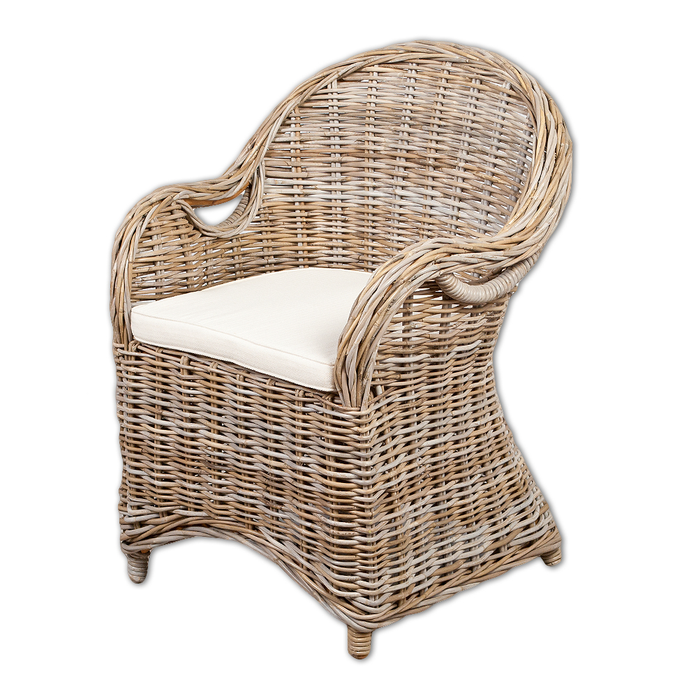 Rattan Sessel CHARLOTTE Antique Grey Inkl. Sitzkissen
