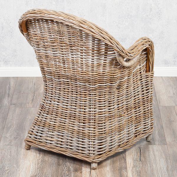 Rattan-Sessel CHARLOTTE Antique Grey inkl. Sitzkissen – Bild 3