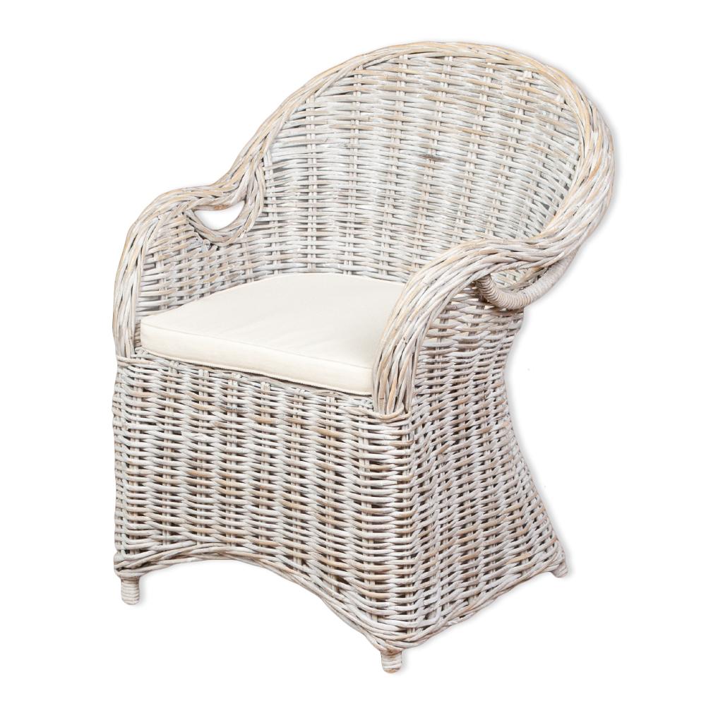 Rattan-Sessel CHARLOTTE White-Washed inkl. Sitzkissen 6209