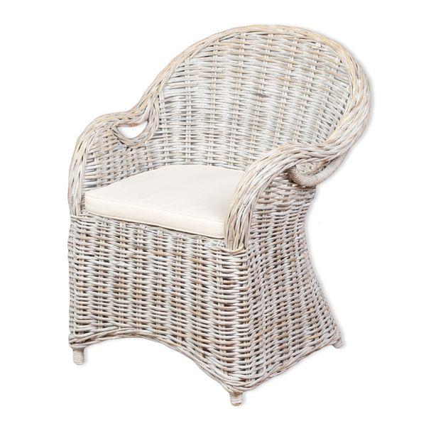 Rattan-Sessel CHARLOTTE White-Washed inkl. Sitzkissen  – Bild 1