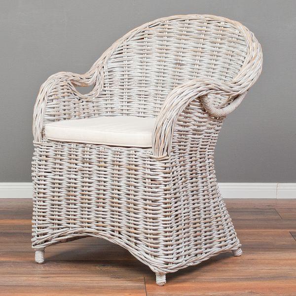 Rattan-Sessel CHARLOTTE White-Washed inkl. Sitzkissen  – Bild 4