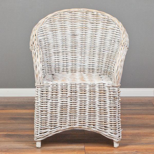 Rattan-Sessel CHARLOTTE White-Washed inkl. Sitzkissen  – Bild 2