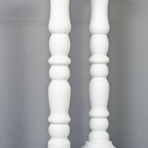 2tlg. Set Kerzenständer JONAS Weiß H54cm Landhaus-Stil aus Holz – Bild 4