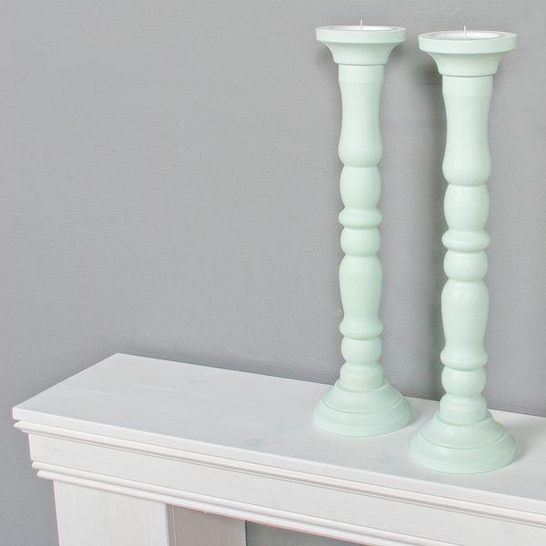 2tlg. Set Kerzenständer JONAS Mint H54cm Landhaus-Stil aus Holz – Bild 2