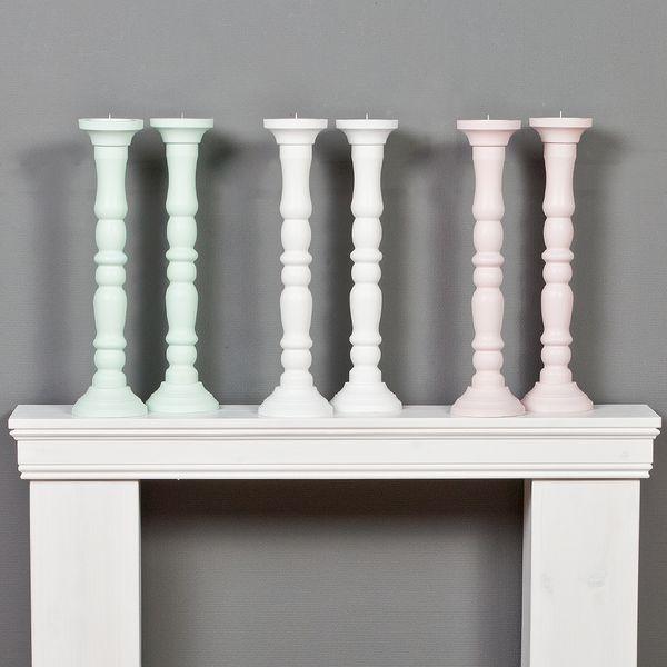 2tlg. Set Kerzenständer JONAS Rosè H54cm Landhaus-Stil aus Holz – Bild 6
