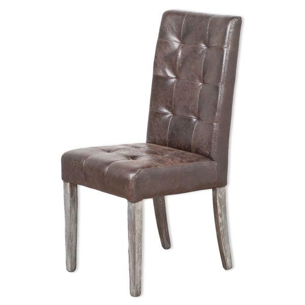Echtleder-Stuhl NOBLE Dark-Brown gesteppt – Bild 1