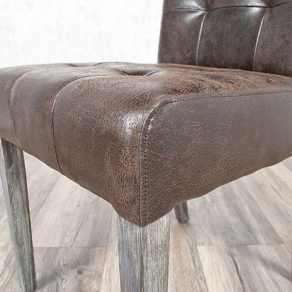 Echtleder-Stuhl NOBLE Dark-Brown gesteppt – Bild 3