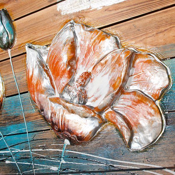 3D Holz-Wandbild FLOWER-B 90x55cm Acryl handgemalt – Bild 6