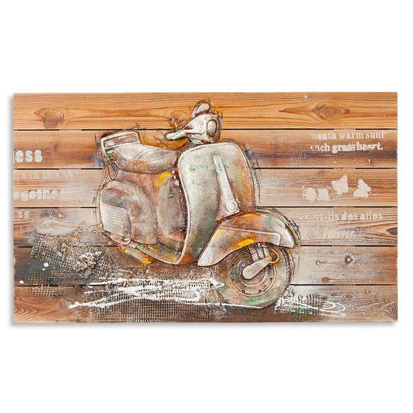 3D Holz-Wandbild VESPA 90x55cm Acryl handgemalt – Bild 1