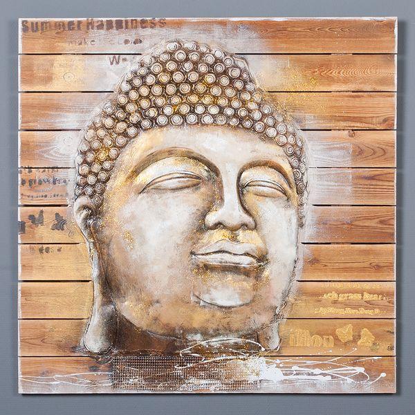 3D Holz-Wandbild BUDDHA HEAD 92x92cm Acryl handgemalt – Bild 4