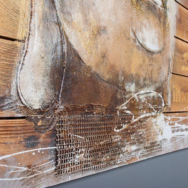 3D Holz-Wandbild BUDDHA HEAD 92x92cm Acryl handgemalt – Bild 7