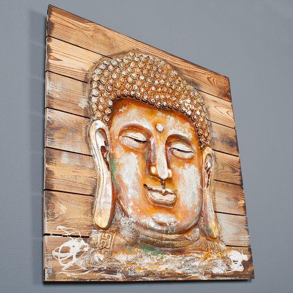 3D Holz-Wandbild GOLDEN BUDDHA 64x64cm Acryl handgemalt – Bild 3