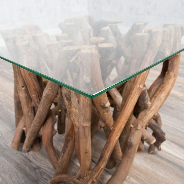 Couchtisch INDO DRIFT 60x60cm Teak Natural mit Glasplatte – Bild 7