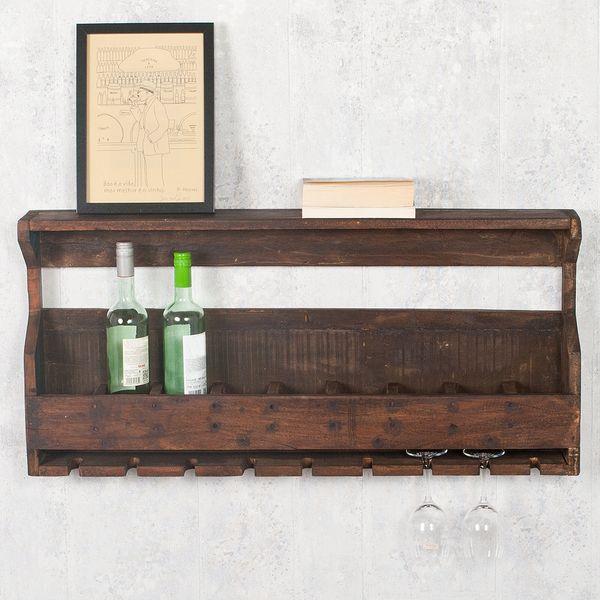 Flaschenregal-Weinregal INDO Dark-Brown aus recyceltem Holz – Bild 4