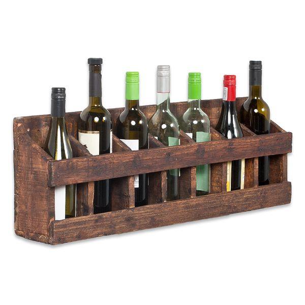 Wandregal-Weinregal TINI Dark-Brown aus recyceltem Holz mit Wandhalterungen – Bild 1