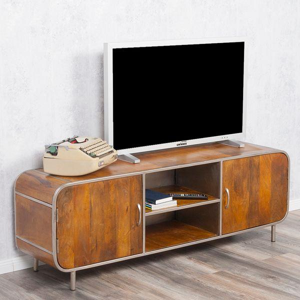 TV-Board RAJENDRA in Stone-S aus massivem Mangoholz Retro-Stil Lowboard 160cm – Bild 1