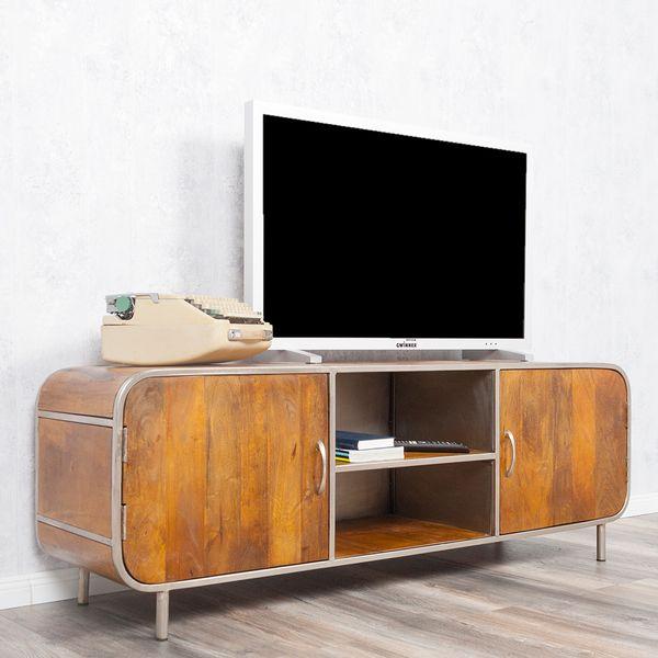 TV-Board RAJENDRA in Stone-S aus massivem Mangoholz Retro-Stil Lowboard 160cm – Bild 4