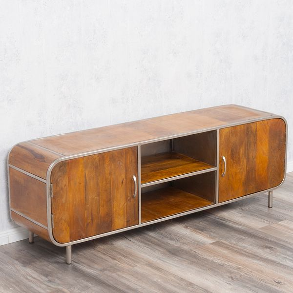 TV-Board RAJENDRA in Stone-S aus massivem Mangoholz Retro-Stil Lowboard 160cm – Bild 6