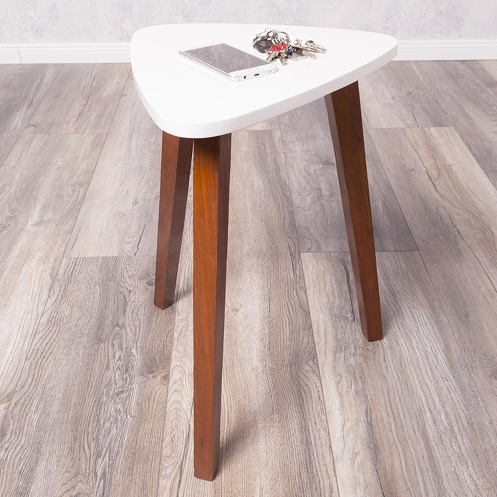 beistelltisch triangle braun wei 38x52x40cm bxhxt telefontisch nachttisch 6418. Black Bedroom Furniture Sets. Home Design Ideas