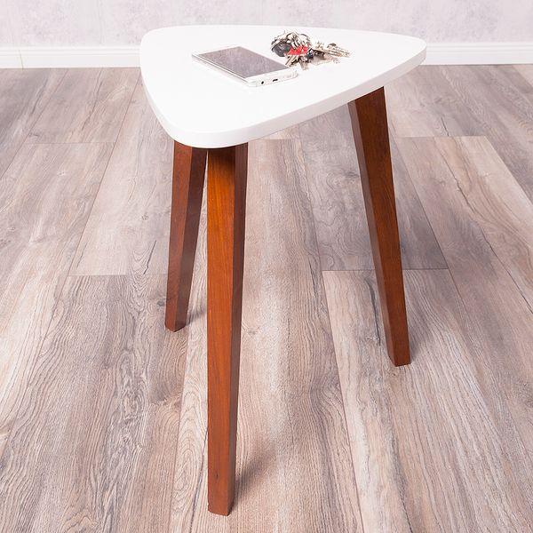 Beistelltisch TRIANGLE braun/weiß 38x52x40cm (BxHxT) Telefontisch Nachttisch – Bild 1
