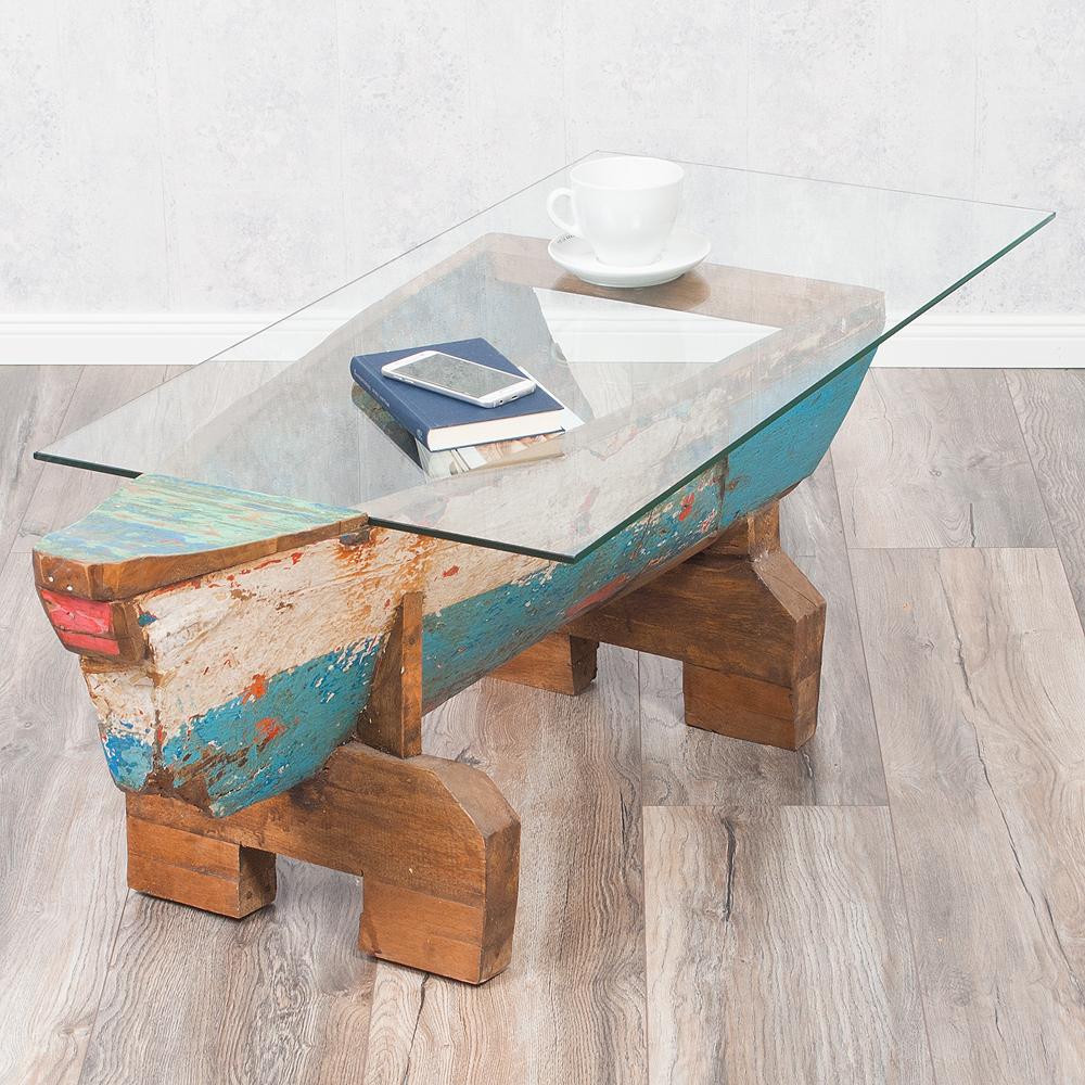Couchtisch Wickie Mit Glasplatte Recyceltes Teak Holz Bootsrumpf