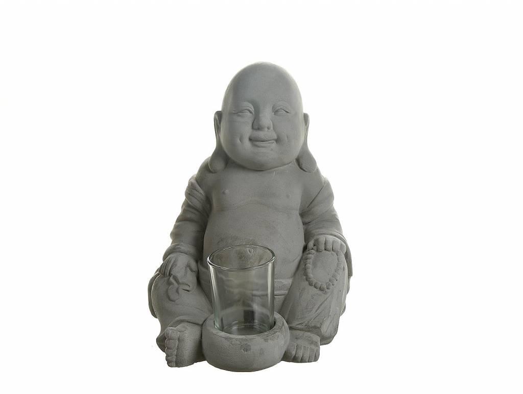 Buddha mit Teelichthalter Zement ca. H22cm