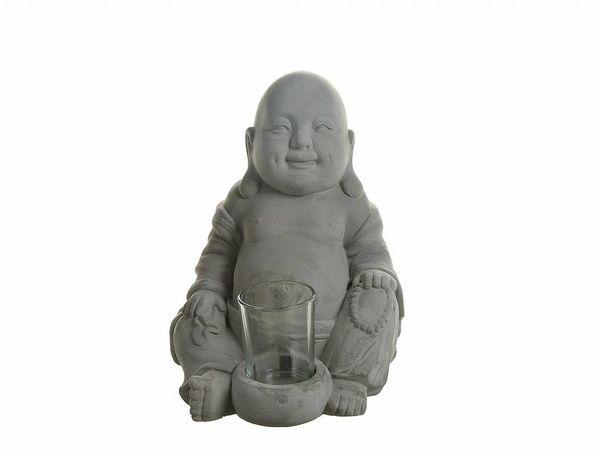 Buddha mit Teelichthalter - Zement Höhe 21,5cm