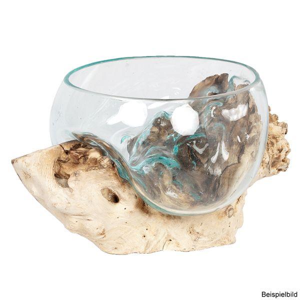 Deko-Glas DROP-1 ca. 15cm Teak Natural Handarbeit, mundgeblasen – Bild 4