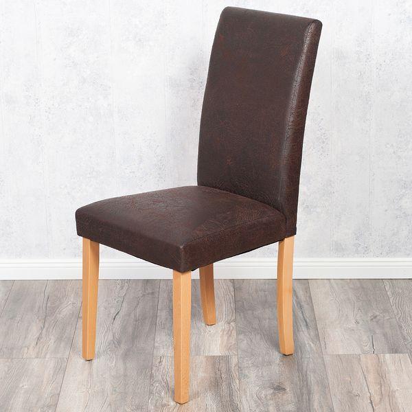 2er Set Stuhl ROKO DEMONT 1 Antik Braun Textil-Leder – Bild 2