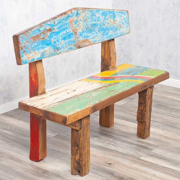 Sitzbank WICKIE recyceltes Holz ca.110cm – Bild 1