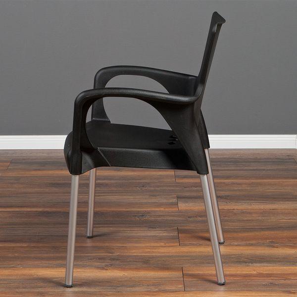 4er Set Stuhl LESLI Schwarz Kunststoff / Aluminium stapelbar – Bild 3