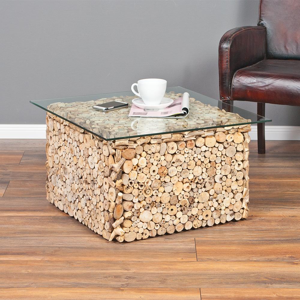 couchtisch driftwood natural 70x70cm treibholz glas 6632. Black Bedroom Furniture Sets. Home Design Ideas