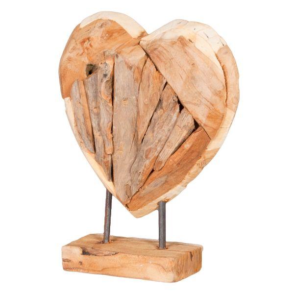 Herz-Figur HATI (Höhe ca. 30cm) aus massivem Teak – Bild 2