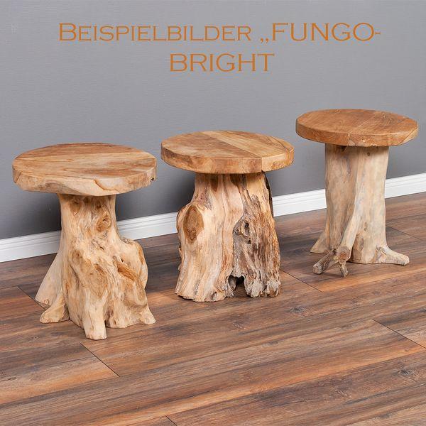 Beistelltisch FUNGO Bright Ø ca. 40cm aus massivem Teakholz – Bild 2
