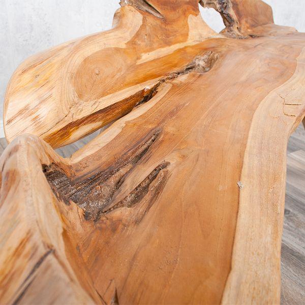 Teak Sitzbank PRIMITIV ca.130cm Natural (poliert, glänzend) – Bild 3